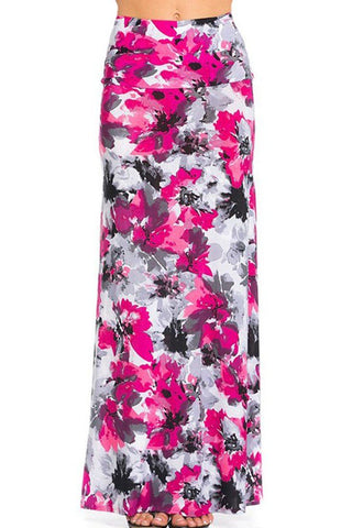 Pink Accent Floral Printed Maxi Skirt