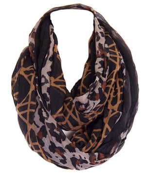 Lattice Animal Print Design Infinity Loop Scarf