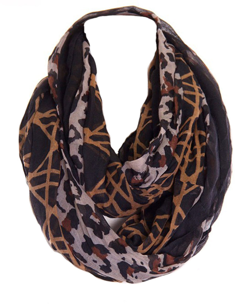 Lattice Animal Print Design Infinity Loop Scarf Scarves- Niobe Clothing