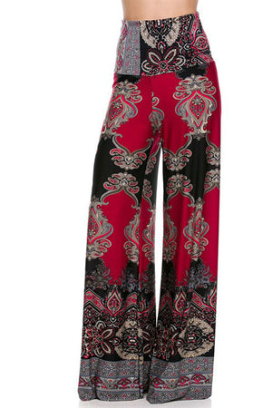 High Waist Fold Over Wide Leg Palazzo Pants (Baroque) pants- Niobe Clothing