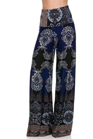 High Waist Fold Over Wide Leg Gaucho Palazzo Pants (Navy Baroque)