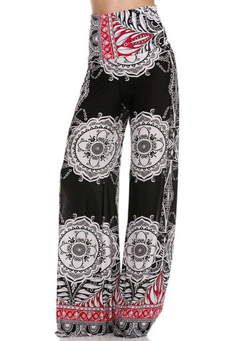 High Waist Foldover Boho Palazzo Pants (White Red Black) - Niobe Clothing - 1