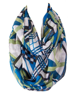 Multicolor Abstract Line Design Infinity Loop Scarf - Niobe Clothing - 1