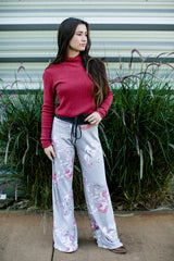 Floral Rose Casual Lounge Pants in Grey pants- Niobe Clothing
