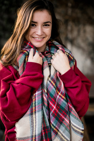 Khaki Plaid Oversized Blanket Scarf
