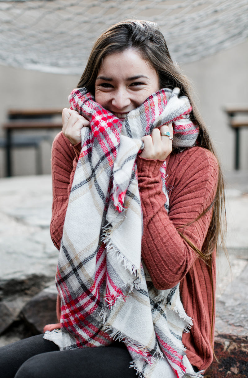 Red Checker Blanket Scarf Scarves- Niobe Clothing