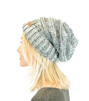 Unisex Two Toned Mix Knit Oversized Slouchy Beanie-Hats-Niobe Clothing
