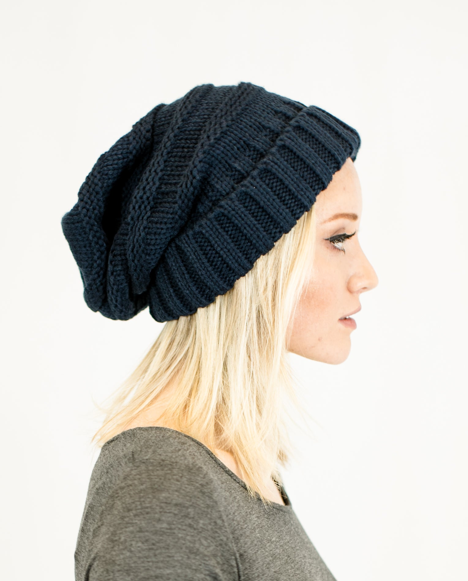 Unisex Solid Color Knit Oversized Slouchy Beanie - Niobe Clothing 2e006730668
