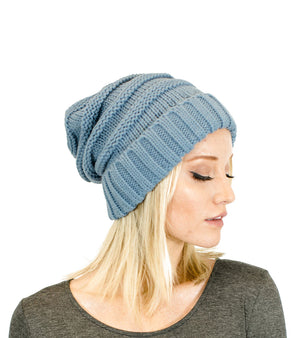 Unisex Solid Color Knit Oversized Slouchy Beanie-Hats-Niobe Clothing