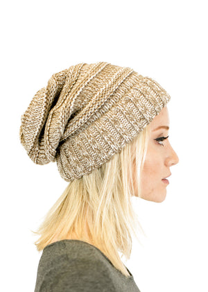 Unisex Two Toned Mix Knit Oversized Slouchy Beanie Hats- Niobe Clothing