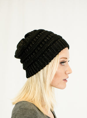 Unisex Two Toned Metallic Soft Stretch Knit Slouchy Beanie Hats- Niobe Clothing