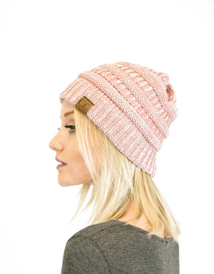 Two-Toned Unisex Soft Stretch Knit Slouchy Skull Beanie