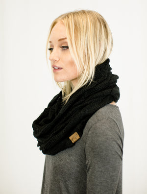 C.C. Warm Knit Infinity Loop Scarf in Black Scarves- Niobe Clothing