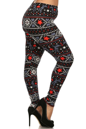 Reindeer Hearts Snowflake Design Plus Size Leggings - Niobe Clothing - 2