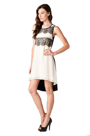 Sleeveless Laced Colorblocked Hi Lo Lined Mini Dress dress- Niobe Clothing