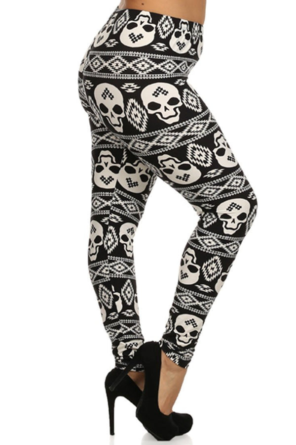 Black White Skull Design Plus Size Leggings leggings- Niobe Clothing