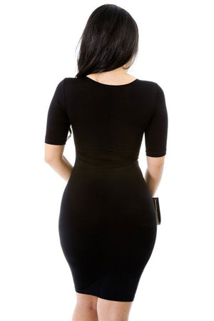 Cocktail Stretch Party Bodycon Keyhole Twist Short Sleeve Mini dress- Niobe Clothing