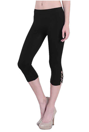 Black Cross Stitch Seamless Smooth Crop Leggings in Black leggings- Niobe Clothing