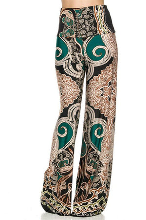 High Waist Fold Over Wide Leg Palazzo Pants (Exquisite Jade) pants- Niobe Clothing