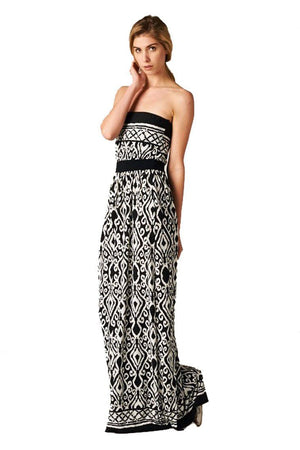 Strapless Baroque Damask Design Maxi Dress dress- Niobe Clothing