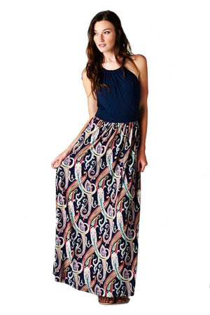 Multi Color Paisley Floral Sleeveless Halter Style Maxi Dress dress- Niobe Clothing