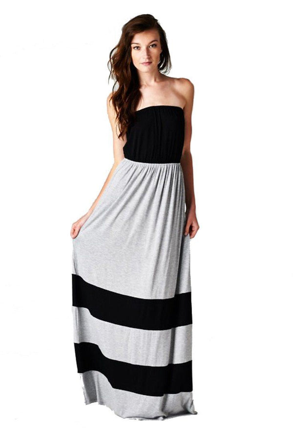 Strapless Colorblock Black Grey Tube Top Maxi Dress dress- Niobe Clothing