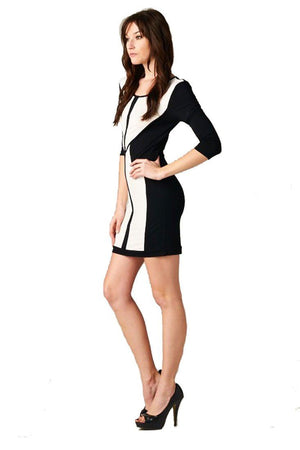 Women's Black and White Bodycon Color Block Short Mini Dress-dress-Niobe Clothing