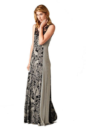 Sleeveless Black White Paisley Striped Mixed Media Lace Maxi Dress-dress-Niobe Clothing