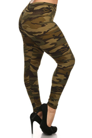 Army Design Plus Size Leggings leggings- Niobe Clothing