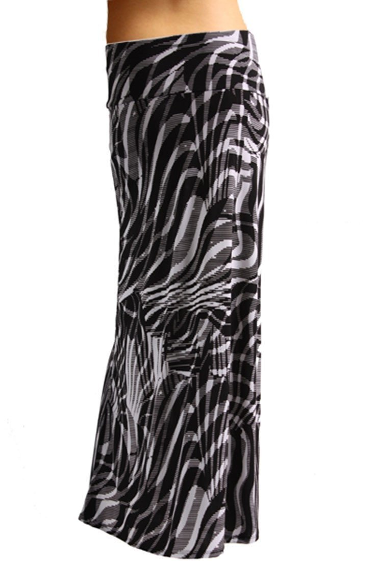 Animal Print Striped Full Length Banded Waist Foldover Maxi Skirt (Zebra) - Niobe Clothing - 1