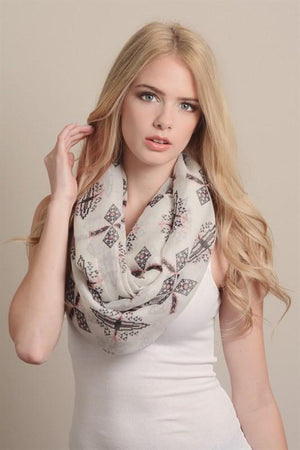 Tribal Aztec Design Infinity Loop Scarf-Scarves-Niobe Clothing