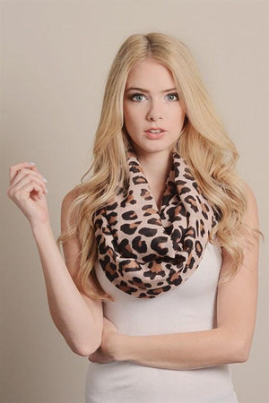 Leopard Design Infinity Loop Scarf-Scarves-Niobe Clothing