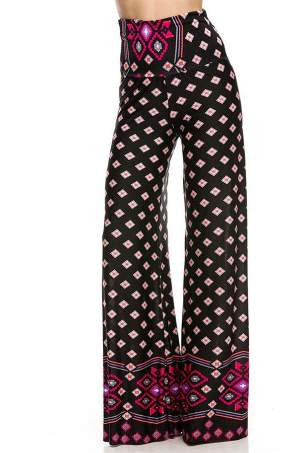 High Waist Foldover Boho Palazzo Pants (Pink Topaz Diamond) pants- Niobe Clothing