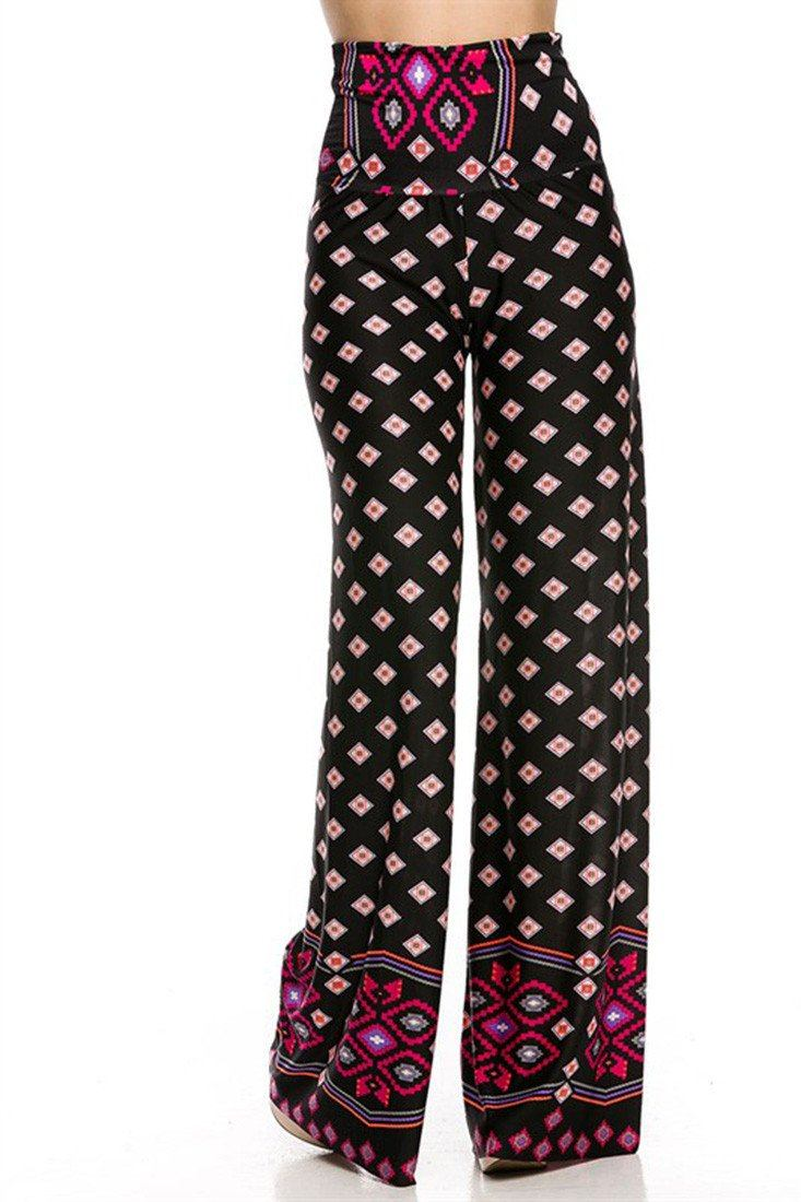 High Waist Foldover Boho Palazzo Pants (Pink Topaz Diamond) - Niobe Clothing - 1