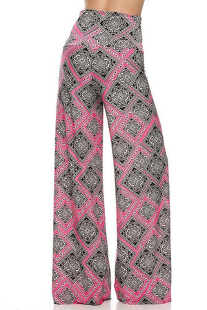 High Waist Fold Over Wide Leg Palazzo Pants (Pink Diamonds)-pants-Niobe Clothing