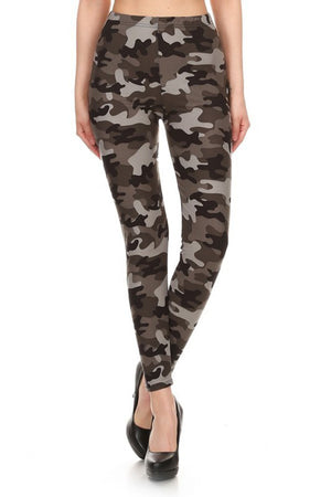 Grey Camo Leggings leggings- Niobe Clothing
