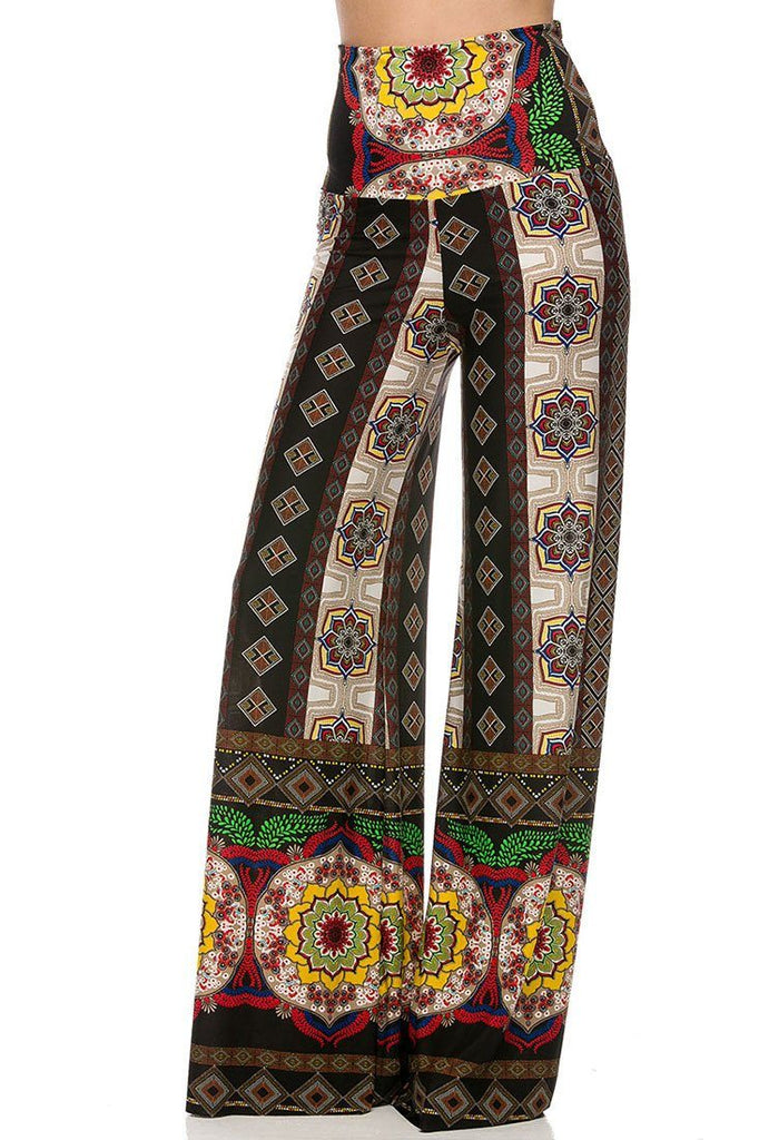 High Waist Foldover Boho Palazzo Pants (Tribal Aztec)
