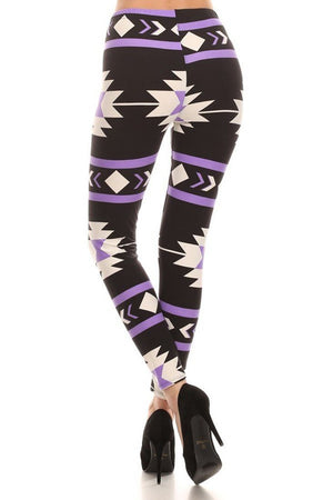 Purple Aztec Graphic Print Lined Leggings