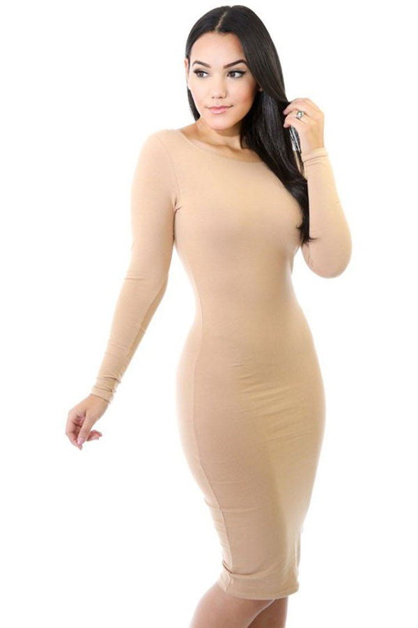Long Sleeve Solid Color Bodycon Midi Dress (Khaki) dress- Niobe Clothing