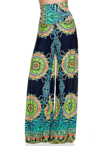 High Waist Fold Over Wide Leg Gaucho Palazzo Pants (Navy Tribal) - Niobe Clothing - 1