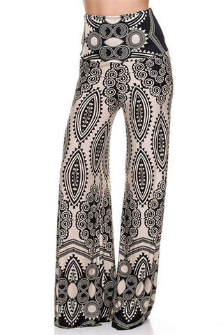 High Waist Foldover Boho Palazzo Pants (Black White Geo) - Niobe Clothing - 1
