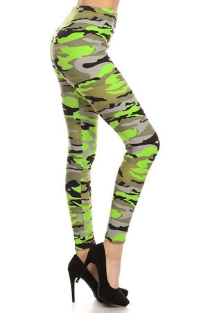 Neon Green Camo Graphic Print Lined Leggings