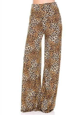 High Waist Fold Over Wide Leg Gaucho Palazzo Pants (Leopard Print)