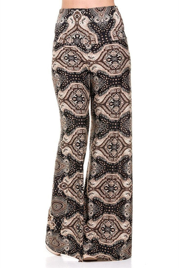 High Waist Foldover Boho Palazzo Pants (Bronze Baroque) pants- Niobe Clothing