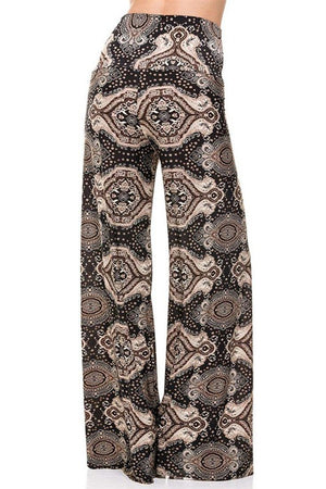 High Waist Foldover Boho Palazzo Pants (Bronze Baroque) - Niobe Clothing - 1