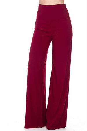 Solid Modal Rayon High Waist Wide Leg Palazzo Pants-pants-Niobe Clothing