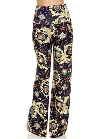 High Waist Foldover Boho Palazzo Pants (Golden Sunburst) - Niobe Clothing - 1