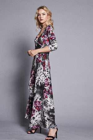 3/4 Sleeve Animal Floral Bohemian Maxi Dress dress- Niobe Clothing