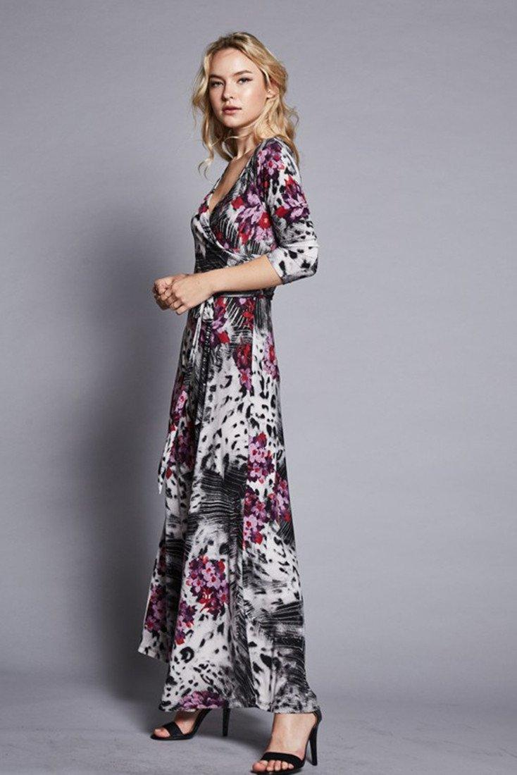 3/4 Sleeve Animal Floral Bohemian Maxi Dress