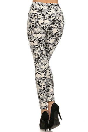 Cream Skull Print Lined Leggings leggings- Niobe Clothing